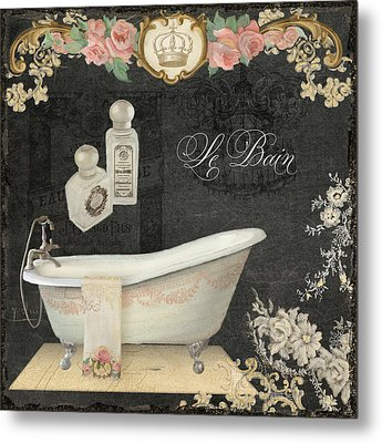 Paris - Chalkboard Le Bain Or The Bath Chandelier And Tub With Roses Metal Print