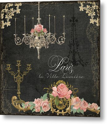 Paris - City Of Light Chandelier Candelabra Chalk Roses Metal Print