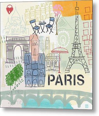 Paris Cityscape- Art By Linda Woods Metal Print by Linda Woods