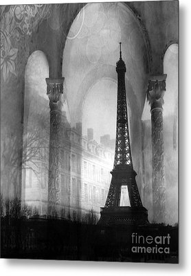 Paris Eiffel Tower Architecture Black And White Fine Art Photography Metal Print by Kathy Fornal