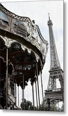 Paris Eiffel Tower Carousel Surreal Black And White Print  Metal Print by Kathy Fornal