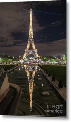 Paris Eiffel Tower Dazzling At Night Metal Print by Mike Reid