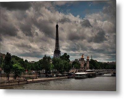 Paris - Eiffel Tower From The Seine 001 Metal Print by Lance Vaughn