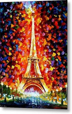 Paris - Eiffel Tower Lighted Metal Print