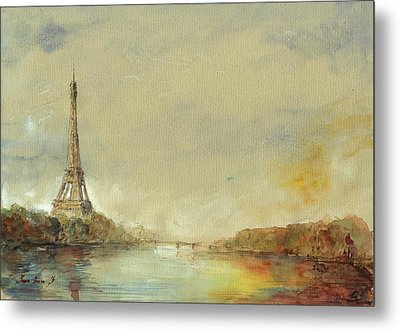 Paris Eiffel Tower Painting Metal Print by Juan  Bosco