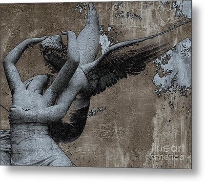 Paris Eros And Psyche - Surreal Romantic Angel Louvre   - Eros And Psyche - Cupid And Psyche Metal Print