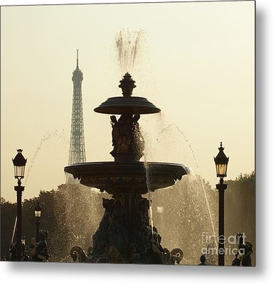 Paris Fountain In Sepia Metal Print
