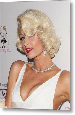 Paris Hilton At Arrivals For Launch Metal Print by Everett