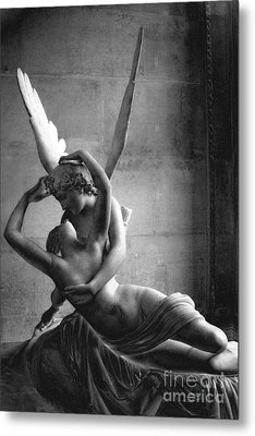 Paris In Love - Eros And Psyche Romantic Lovers - Paris Eros Psyche Louvre Sculpture Black White Art Metal Print by Kathy Fornal