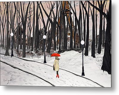 Paris In The Park Metal Print by Ken Figurski
