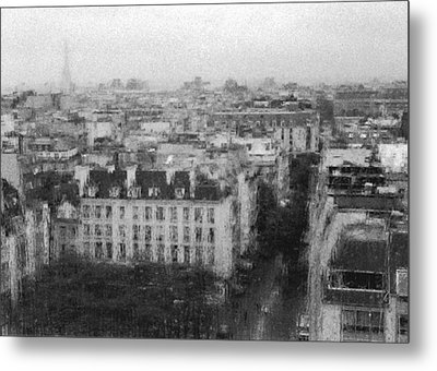 Paris In The Rain  Metal Print by Dubi Roman