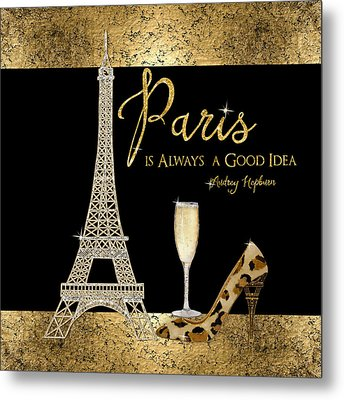 Paris Is Always A Good Idea - Audrey Hepburn Metal Print by Audrey Jeanne Roberts