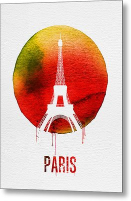Paris Landmark Red Metal Print by Naxart Studio