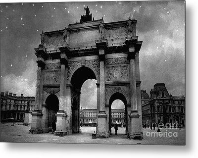 Paris Louvre Entrance Arc De Triomphe Architecture - Paris Black White Starry Night Monuments Metal Print by Kathy Fornal