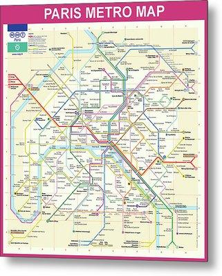 Paris Metro Map  Metal Print by Bill Cannon