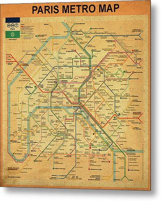 Paris Metro Map In Sepia Metal Print by Bill Cannon
