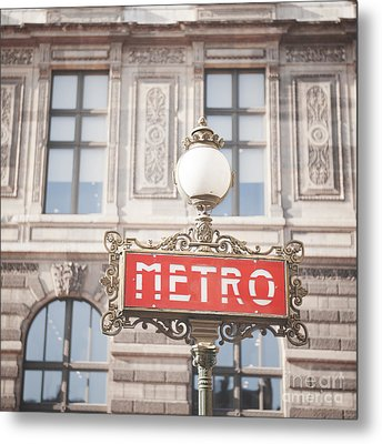 Paris Metro Sign Architecture Metal Print