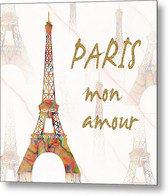 Metal Print featuring the painting Paris Mon Amour Mixed Media by Georgeta Blanaru