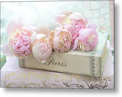 Paris Pink Peonies Romantic Shabby Chic French Market Peonies - Paris Romantic Peonies And Book Art Metal Print by Kathy Fornal