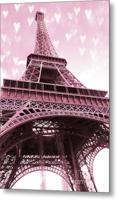 Paris Pink Romantic Eiffel Tower Valentine Hearts - Eiffel Tower Baby Girl Nursery Room Wall Art Metal Print by Kathy Fornal