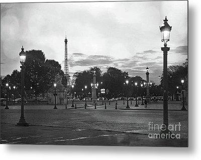 Paris Place De La Concorde Plaza Night Lanterns Street Lamps - Black And White Paris Street Lights Metal Print by Kathy Fornal