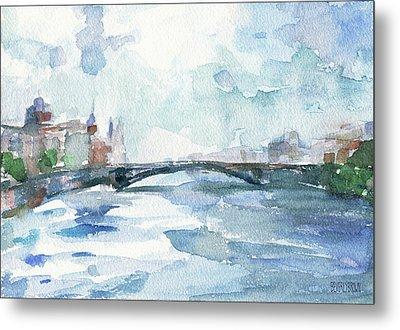 Paris Seine Shades Of Blue Metal Print by Beverly Brown