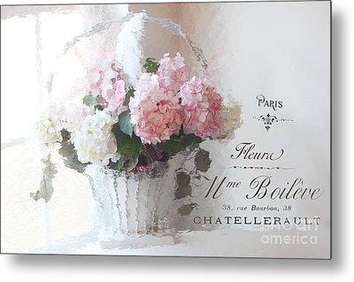 Paris Shabby Chic Romantic Pink White Hydrangeas In Basket - Paris Romantic Basket Of Flowers Metal Print
