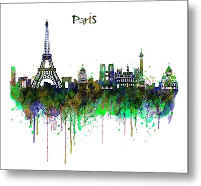 Paris Skyline Watercolor Metal Print by Marian Voicu