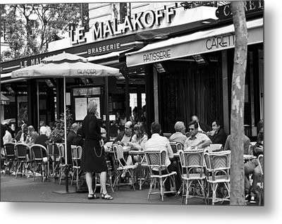 Paris Street Cafe - Le Malakoff Metal Print by Georgia Fowler