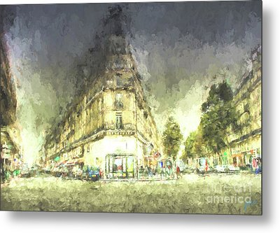 Metal Print featuring the mixed media Paris Streets by Jim  Hatch