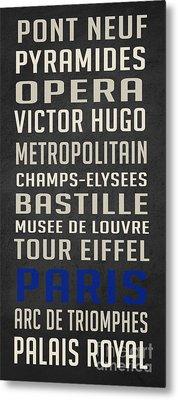 Paris Subway Stations Vintage Metal Print
