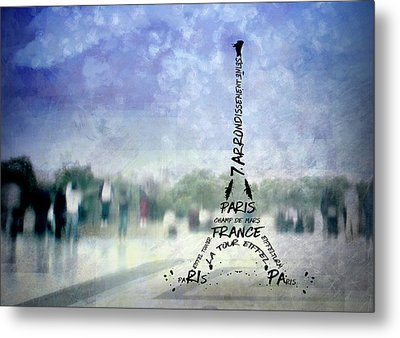 Paris Trocadero And Eiffel Tower Typografie Metal Print
