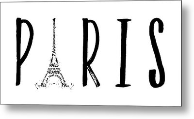 Paris Typography Panoramic Metal Print