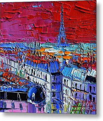 Paris View - Printemps Rooftop Terrace Metal Print by Mona Edulesco
