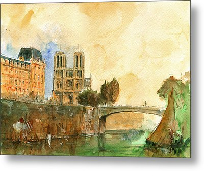 Paris Watercolor Metal Print by Juan  Bosco