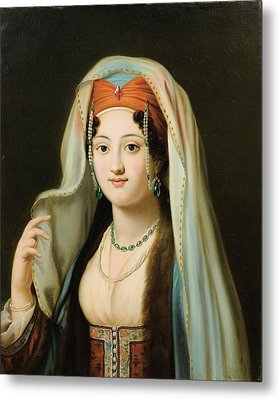 Paris Young Woman In Traditional Dress Ottoman Metal Print