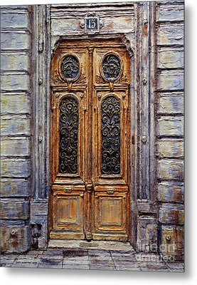 Metal Print featuring the painting Parisian Door No. 15 by Joey Agbayani