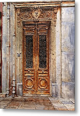 Metal Print featuring the painting Parisian Door No.7 by Joey Agbayani