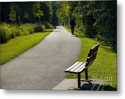 Park Bench And Person On Walking Trail Photo Metal Print