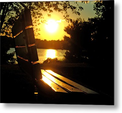 Park Bench At Sunset Metal Print