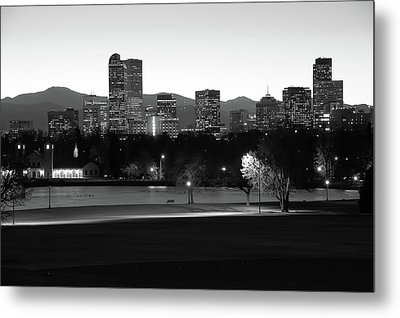 Metal Print featuring the photograph Park Bench Under The Denver Colorado Skyline - Black And White by Gregory Ballos