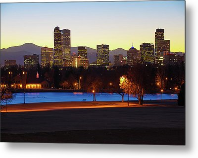 Metal Print featuring the photograph Park Bench Under The Denver Colorado Skyline by Gregory Ballos