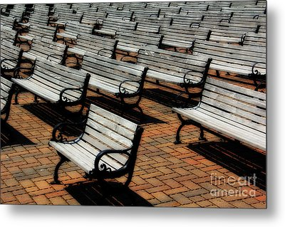 Park Benches Metal Print by Perry Webster