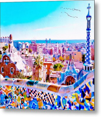 Park Guell Watercolor Painting Metal Print by Marian Voicu