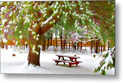 Park In Winter With Snow Metal Print by Lanjee Chee