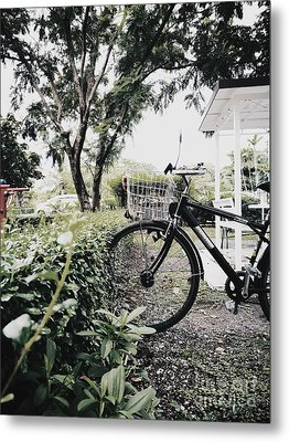 Parked Bicycle Into Bush Metal Print