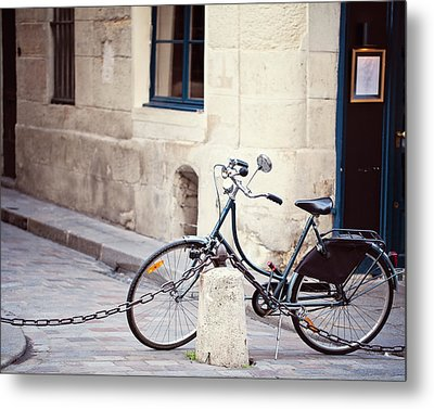 Parked In Paris - Bicycle Photography Metal Print by Melanie Alexandra Price
