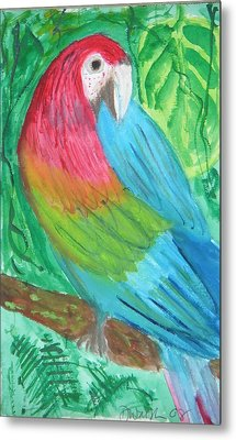 Metal Print featuring the painting Parrot At Sundy House by Donna Walsh