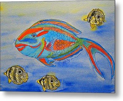 Parrotfish And Butterflies Metal Print