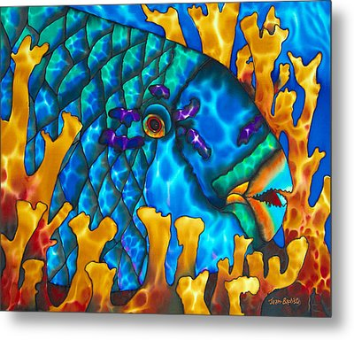 Parrotfish And Fire Coral Metal Print